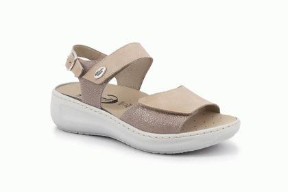 Sandalo doppio strappo con sottopiede estraibile