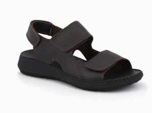 Leather sandals with double adjustable velcro