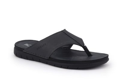 Real leather flip flops with padded insole
