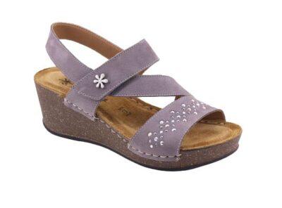 Sandalo regolabile con zeppa sottopiede imbottito