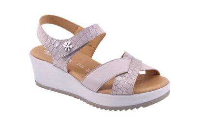 Sandalo regolabile con zeppa e sottopiede imbottito